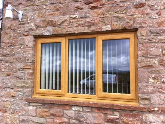 Irish Oak PVC window with 2 side openers & central fixed pane