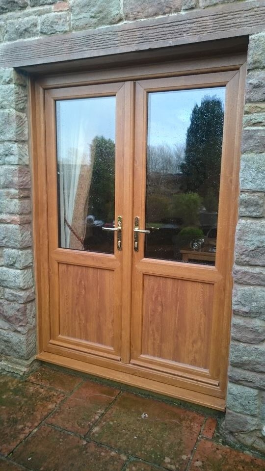 Golden Oak French Door with midrail