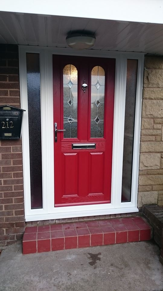 Red Composite Door - Aston style with Sero glazing