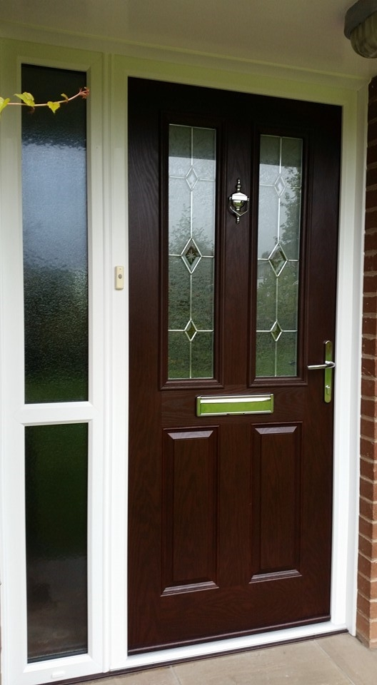 Rosewood Comp door Clifton glazed CS1 glass