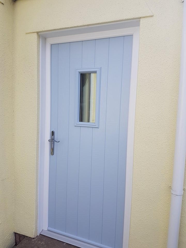 Duck Egg Blue Solidor Composite door - Flint style with clear glass