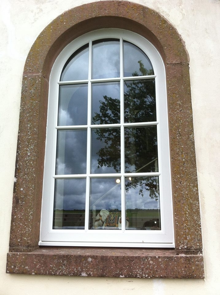 White PVC Arched Windows with face-fix astragal bars