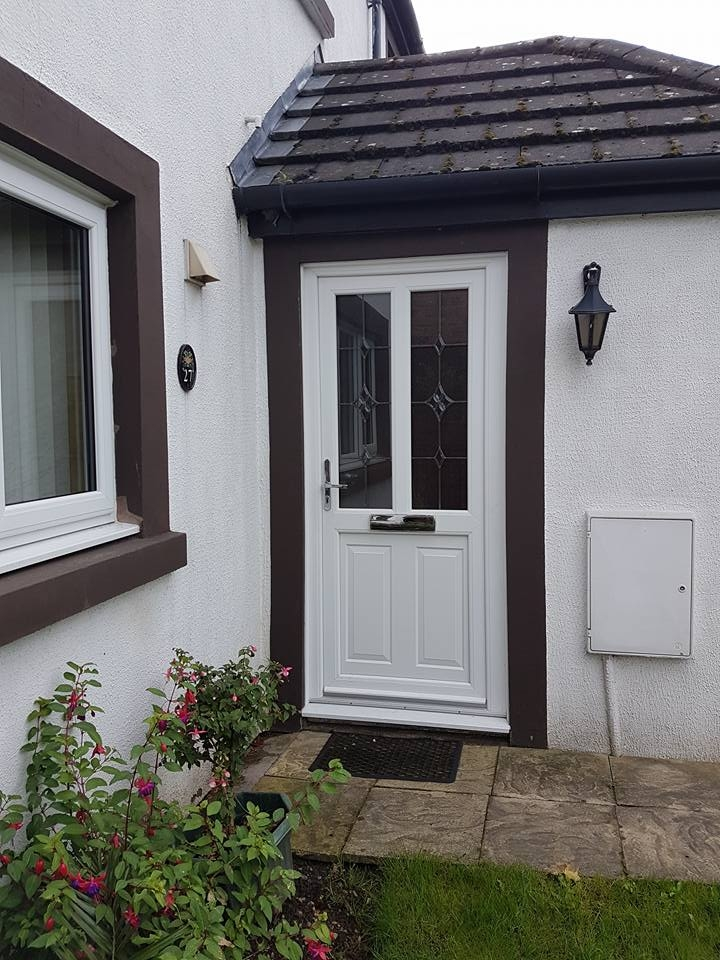 White PVC door with RBD 35 bevelled glass & concaved panel bottom